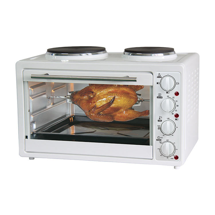 China manufacturer white color 30L electric oven with hot plates