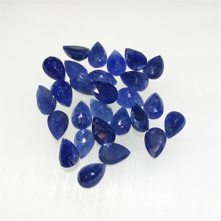 SGARIT High Quality Pear Cut Blue Gemstone Jewelry Manufacture 4x6mm Natural Sapphire Loose Stone