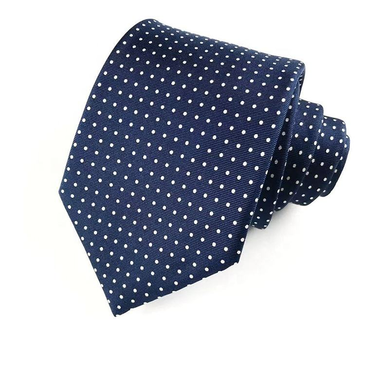 Hai Bei printing series silk twill navy blue with white small dot mens tie high quality hand made silk tie