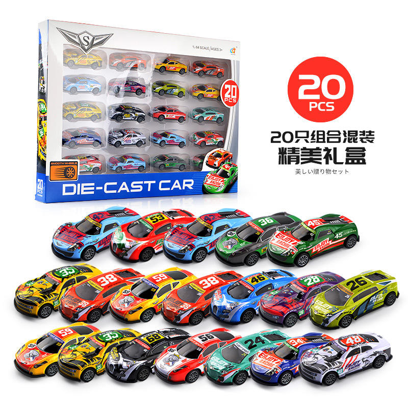 Alloy Customized Promotional Set Simulation Miniature 1/64 Diecast Model Car Toy Vehicles Pull back toy car for kids