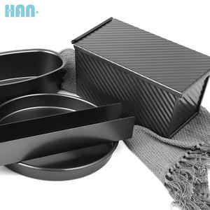 Customized Bake Tool Supplier Black Carbon Steel Cake Baking Pan Set 8Pieces Nonstick Spring Form Oven Bakeware Set