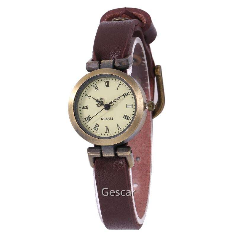 Top Quality Elegant Women Retro Vintage Style Bracelet Tiny Leather Band Bracelet Wristwatch Delicate Designs Women Watch