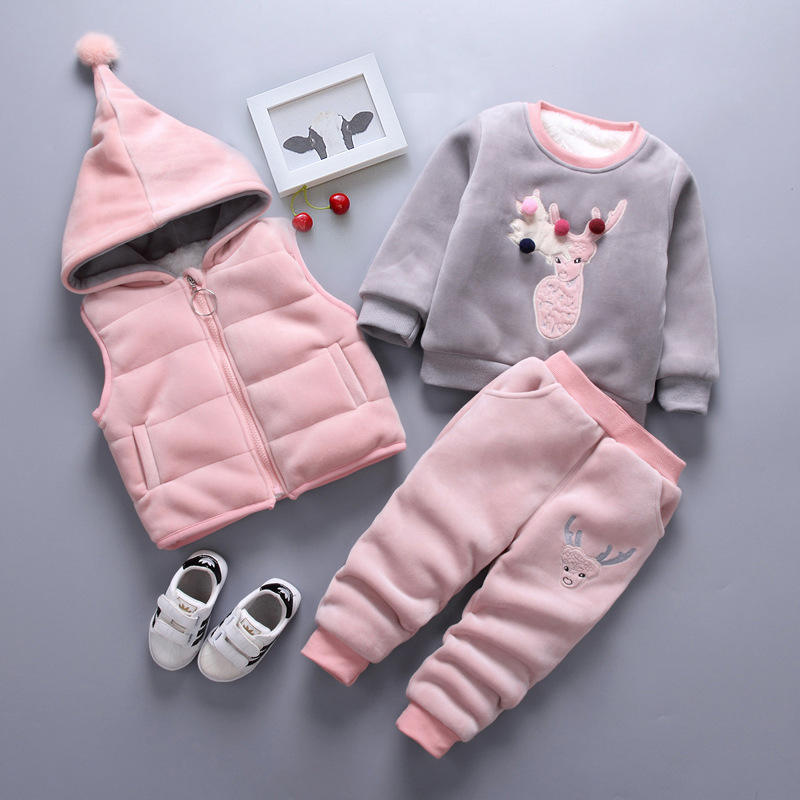 Stylish Baby Clothing Sets Winter Autumn Children Outfit Girls Pant + Sweater + Hooded Vest 3 pcs Kids Clothing Sets hot sale