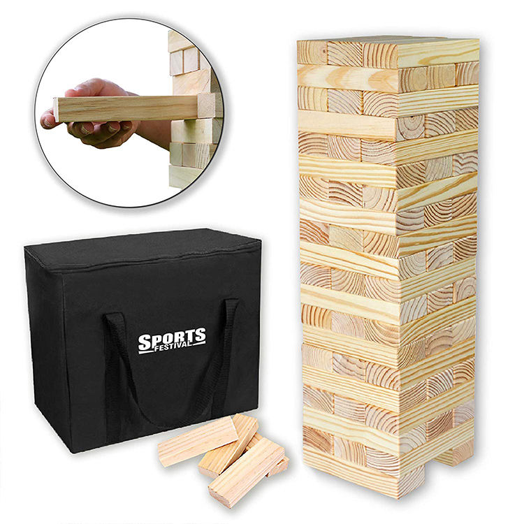 Custom Different Size Giant Wooden blocks stacking game giant Toppling Tumbling Tower set for adult and kids