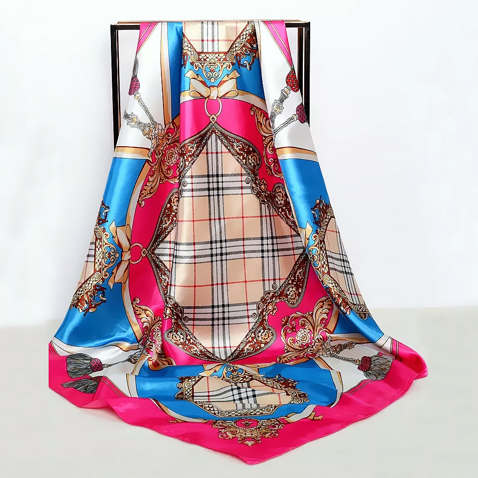 Plaid Factory Hot Sale New Style Designer Fashion Square Satin Made High Quality Silky Feeling Scarf