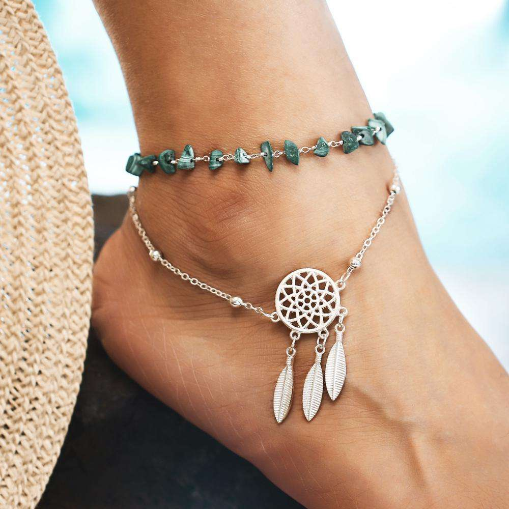 Women Anklets Hollow Dreamcatcher Irregular Turquoise Anklets Double Layers Chain Ankles