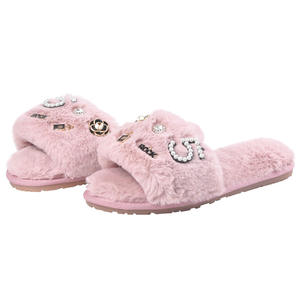 Newest women fur slippers rhinestones crystal faux furry shoes slides sandals winter fall cotton hair plush slipper
