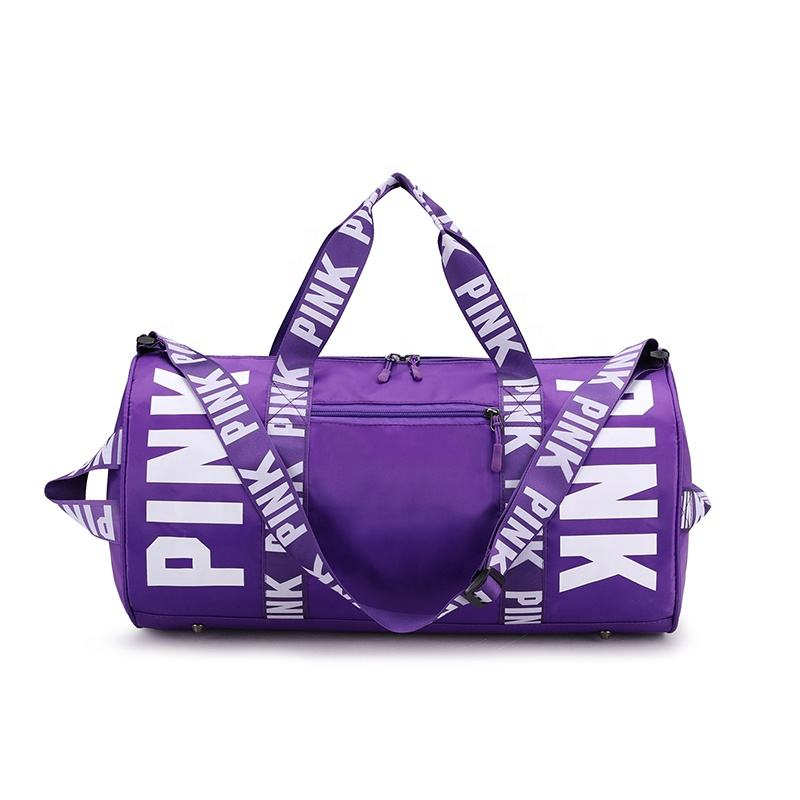 Custom Logo Travel Accessories Pink Duffel Bag Wholesale Waterproof Polyester Gym Bag For Women Overnight Bag In Stock