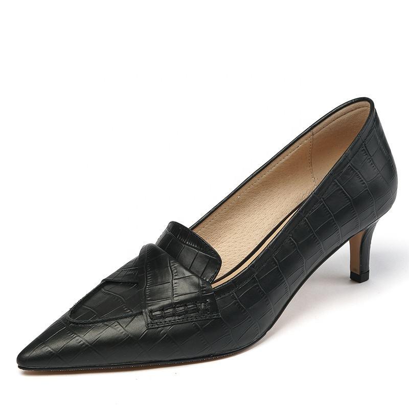 Top Level Cowhide Ladies Black Genuine Leather Shoes Pump Vintage Women High Heel Pointed Office Shoes Wholesale