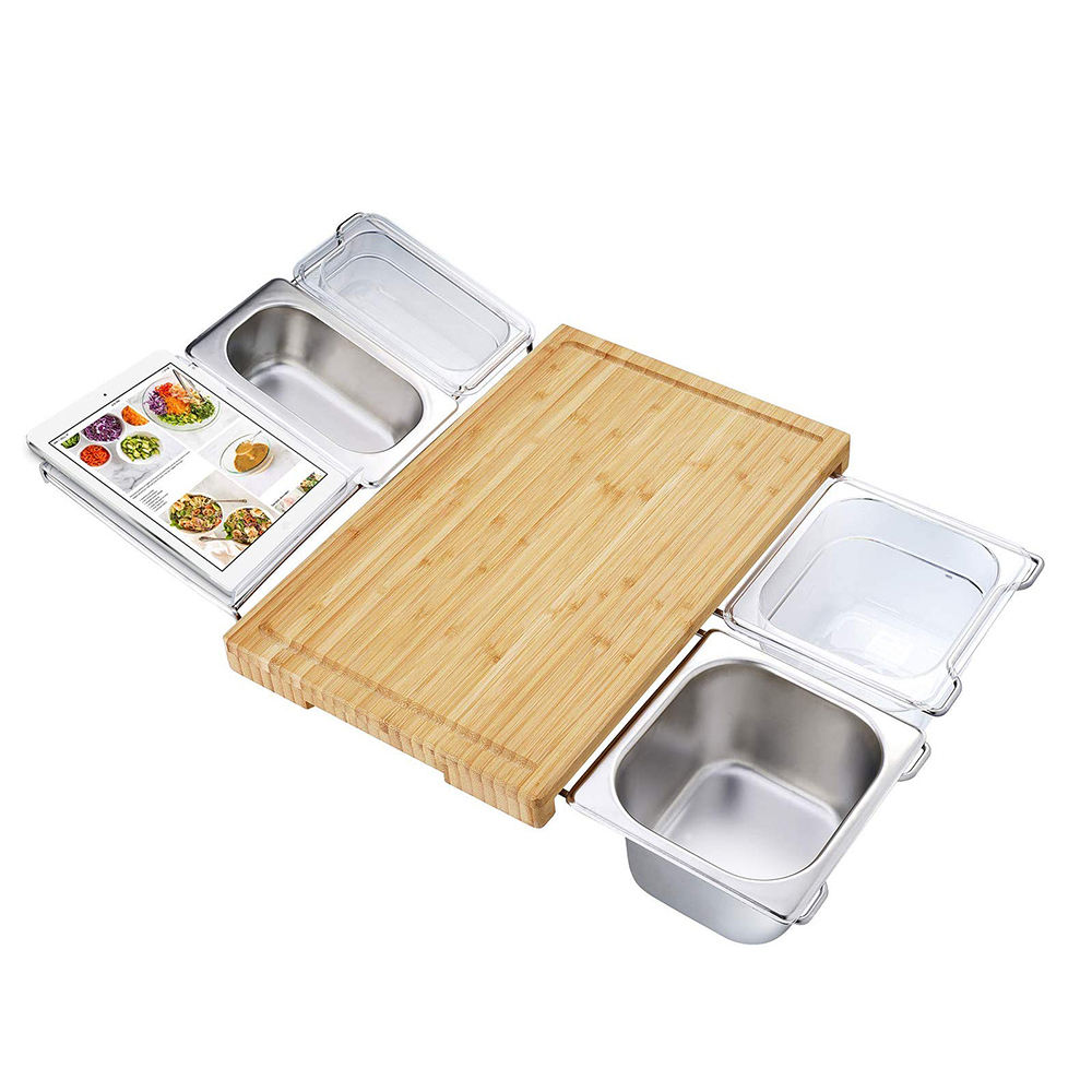 Bamboo cutting board set with 4 kitchen containers and tableware