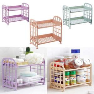 Simple design Tower Durable Indoor Bathroom kitchen racks storage 2 Tier Pure Plastic Freestanding Storage Racks Shelf
