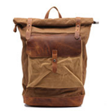 Guangzhou Backpack Supplier outdoor Waxed Canvas Roll Top Rucksack Bag For College Boy