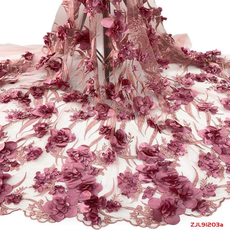 Best Lace Supplier African Lace Fabrics With 3d Flowers Applique Embroidery For Bridal Fabric