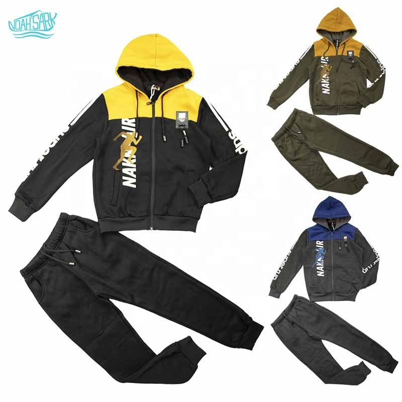 2018OEM service youth children's clothes 260g three-color four-yard brushed suit winter Harajuku hoodie