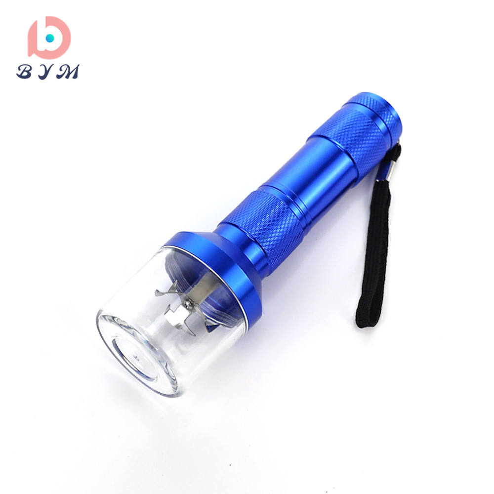 electric tobacco grinder aluminum metal hand hold flashlight shape herb grinder machine