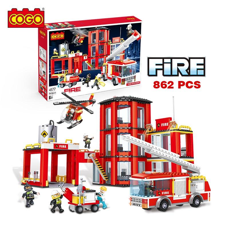 COGO 862PCS Fire station helicopter fire vehicle educational educational kids building blocks puzzle toys for children