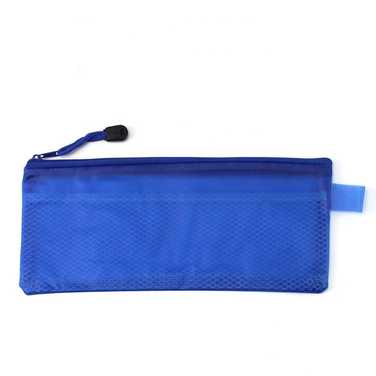 Pvc Pencil Bag Children File PVC Make Up Pen Case Mesh Hold Pencil Bag