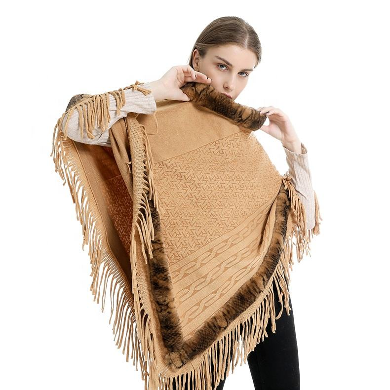 Hot Sale 2019 Fashion Warm Shawls For Women Pashmina Scarf Cashmere Scarves With Tassel Fur Collar Woman Winter Cape
