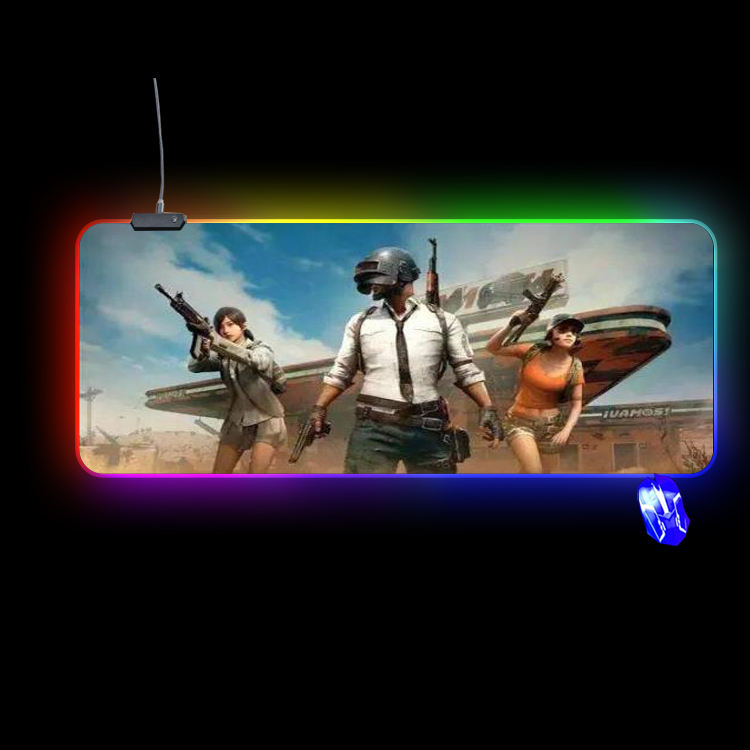 promotional custom RGB rubber extended earthing size large gaming mouse pad