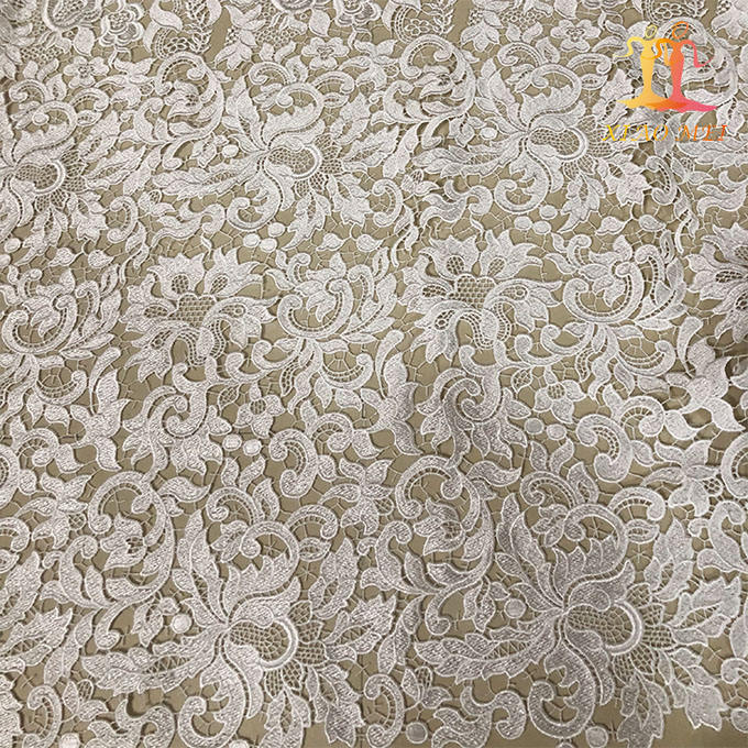 High quality chemical polyester Fancy embroidery crochet lace fabric for dress