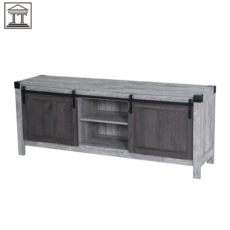 New Design Industrial Style Sliding Doors Flat Pack TV Stand Cabinet For Living Room Furniture