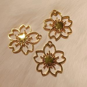 PandaHall Sakura Flower Golden Alloy Open Back Bezel Earring Pendant