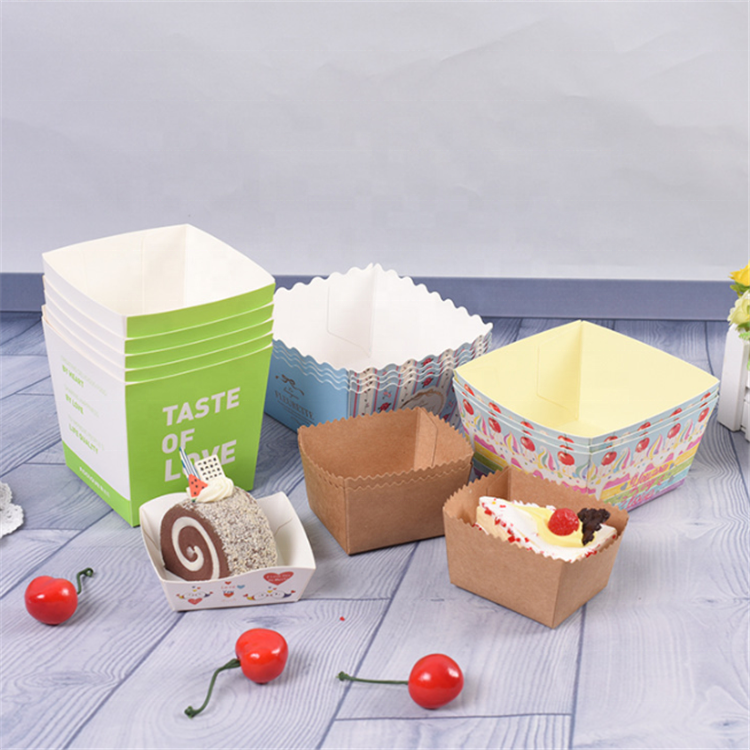 Factory High Quality Customized Paper Disposable Baking Cups Roll Film Cups Paper Souffle Cake Box