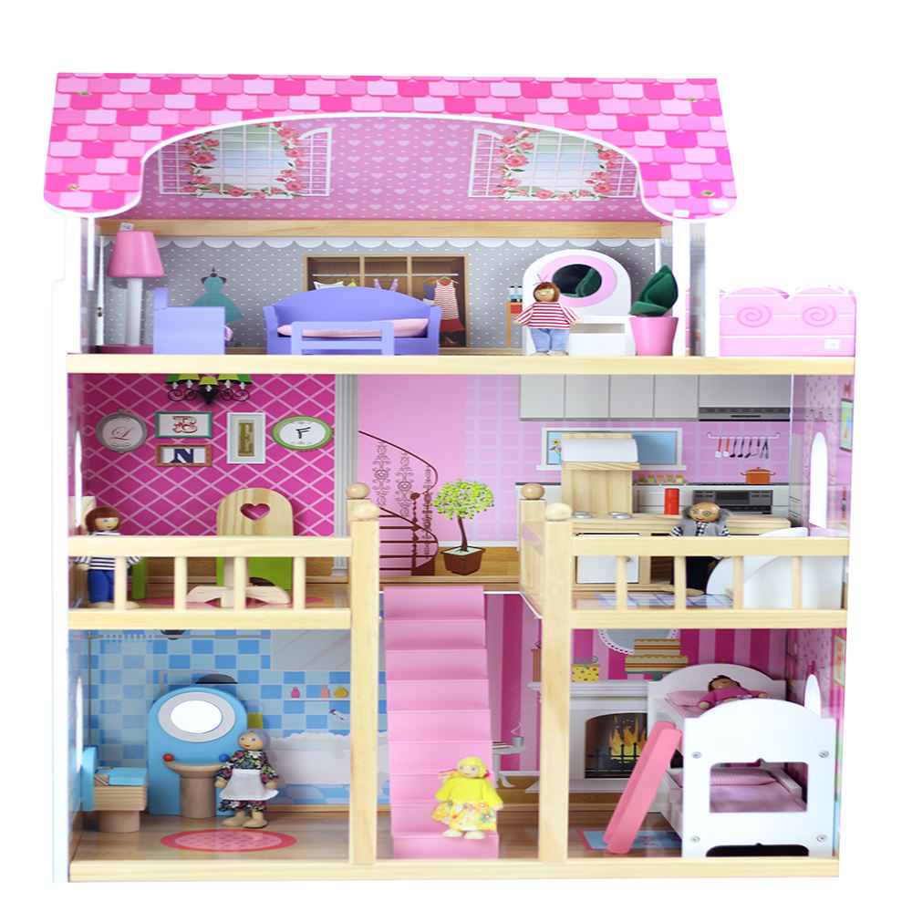 DIY Indoor children funny pretend furniture wooden kids toy doll house