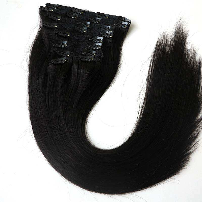 Xuchang Harmony 120g 22inch double drawn clip hair thickness end clip in hair extensions 100% human hair