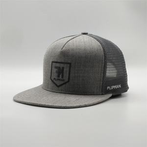 Best Quality Custom 5 Panel Mesh Structured Flat Bill Brim Embroidery Grey Trucker Snapback Cap Hats