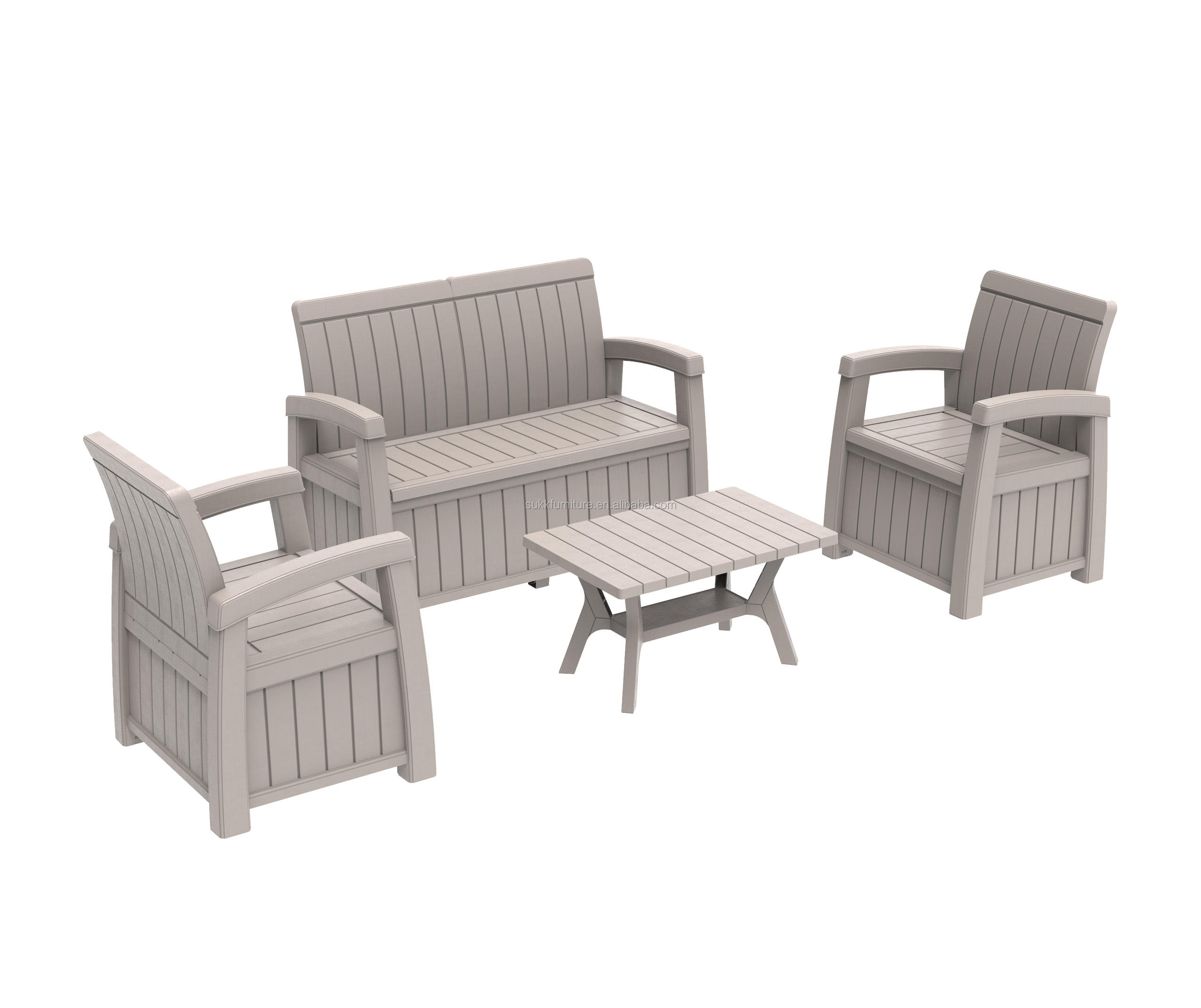 Outdoor Garden Bench With Backrest Patio plastic Storage Bench Deck Box Loveseat Furniture All Weather Cabinet Seat