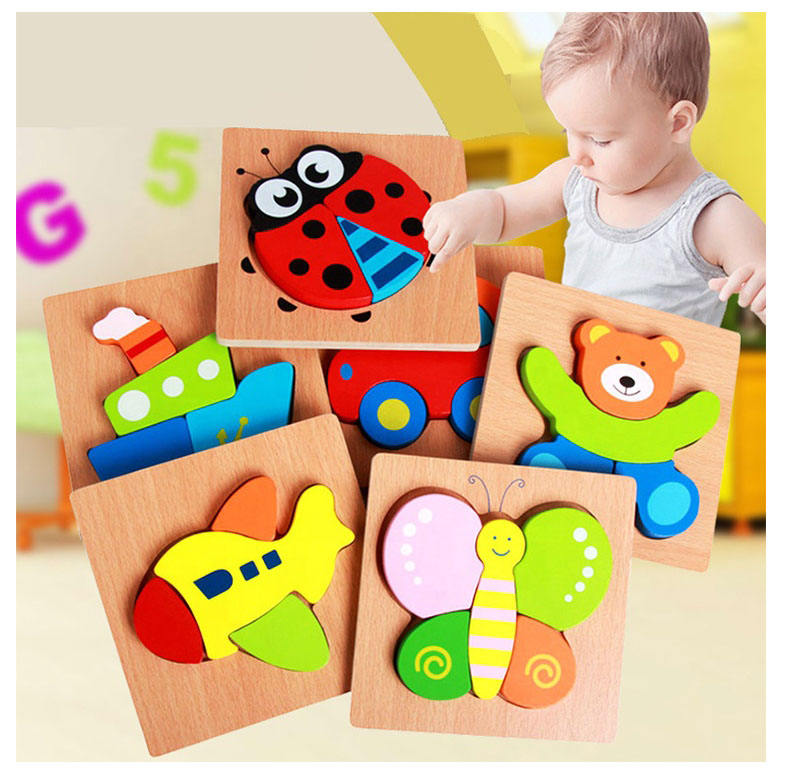 custom Kids Wooden 3D Puzzle Jigsaw Toys For Children Cartoon Animal Vehicle Wood toddler Puzzles