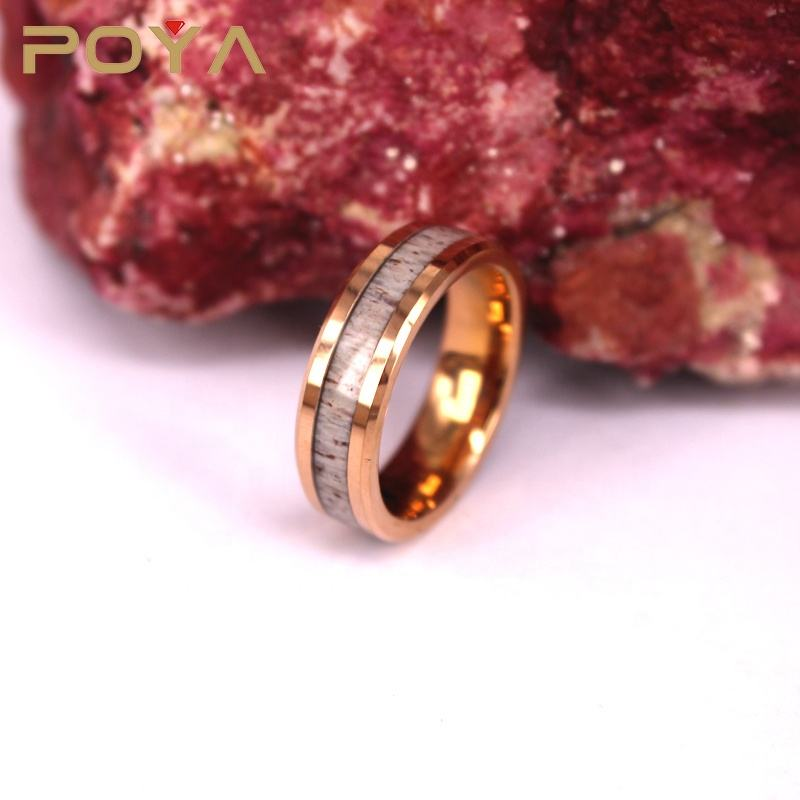 POYA Jewelry 6mm Deer Antler Tungsten Band Rose Gold Tungsten Ring Mens Engagement Tungsten Ring