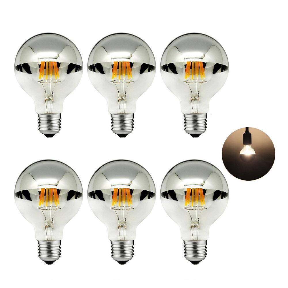 G95 8W Edison LED Filament ampul 2700K E27 taban lambası yarım krom gümüş küre 360 <span class=keywords><strong>derece</strong></span> Vintage led ampuller oturma odası için