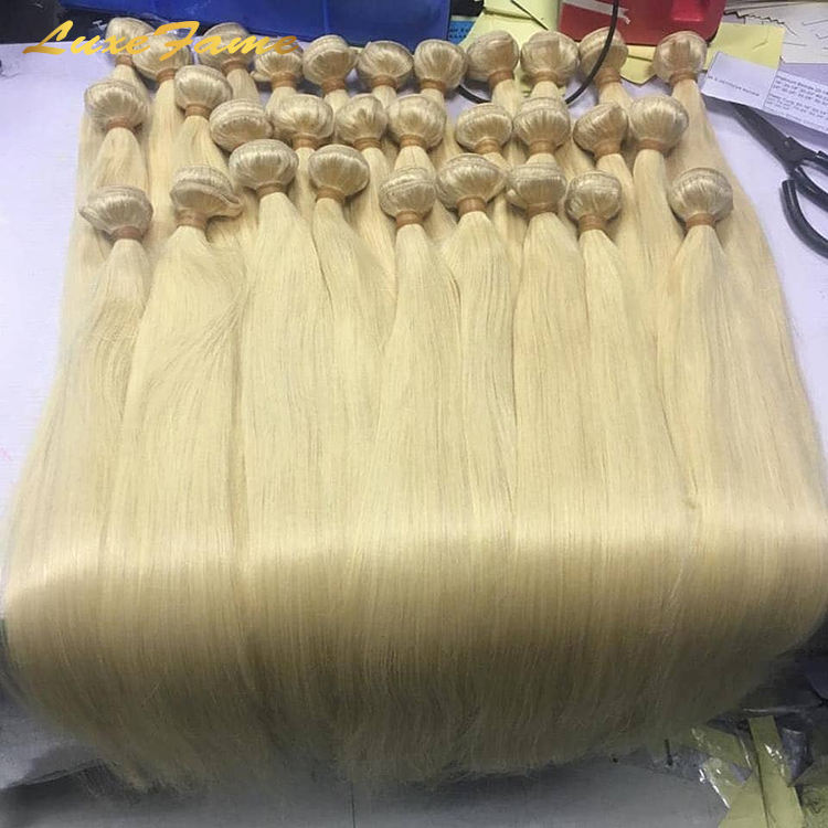 Wholesale 613 Cuticle Aligned Virgin Hair,Russian Blonde Virgin Human Hair Bundle,40 Inch Blonde Brazilian Human Hair Extension