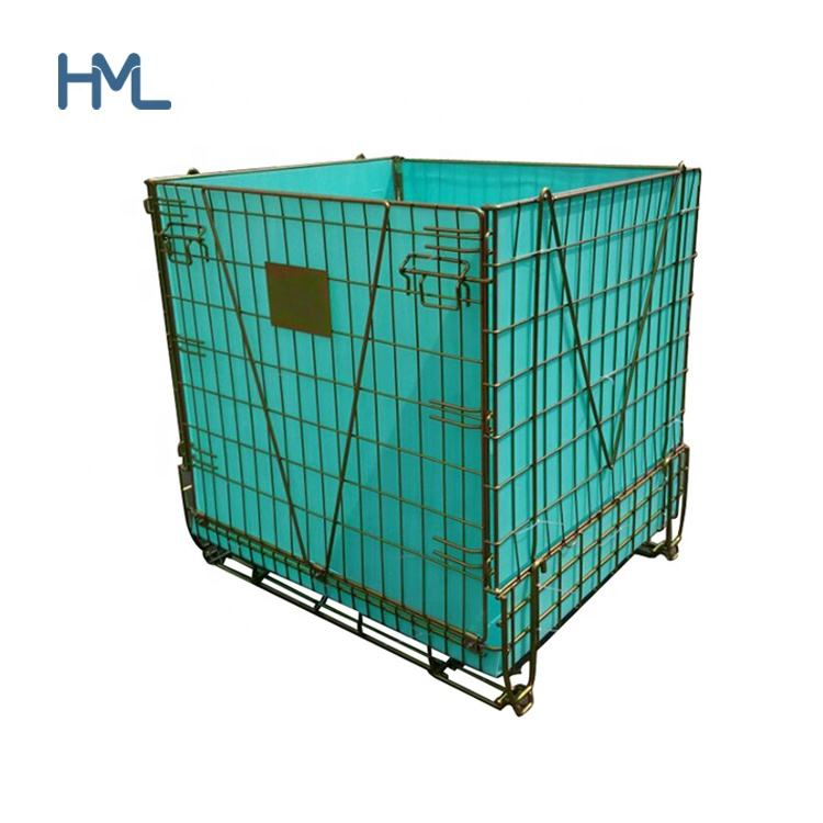 China warehouse steel storage collapsible stackable bulk metal pet prefrom wire mesh containers