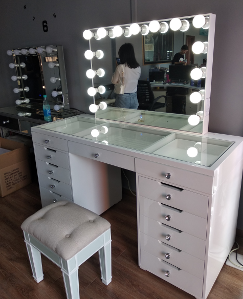 Docarelife Girl Hollywood Style Mirror Led Cosmetic Salon Dressing Table Mirror Set with Led Light Bulbs
