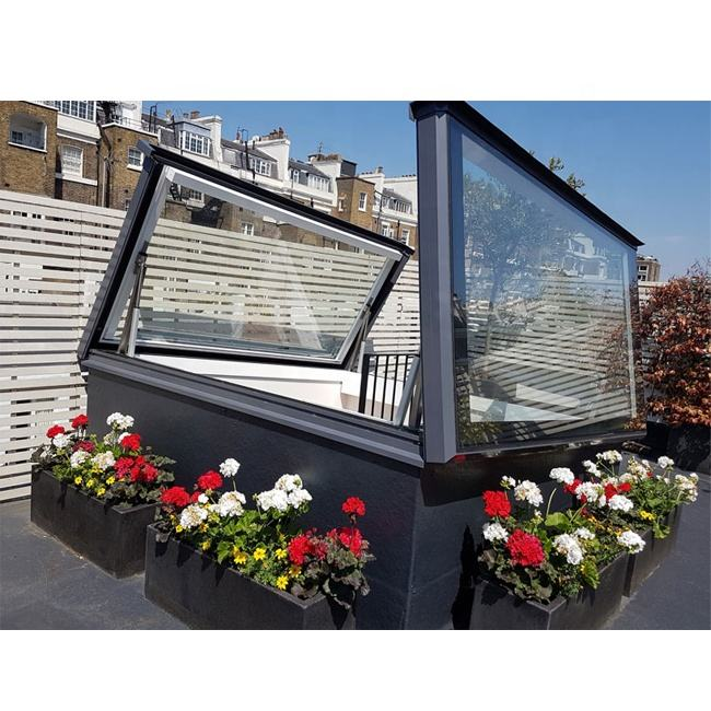 Black Roof Window Electric Openable Laminated Glass Clear Skylight Roof Panel Price