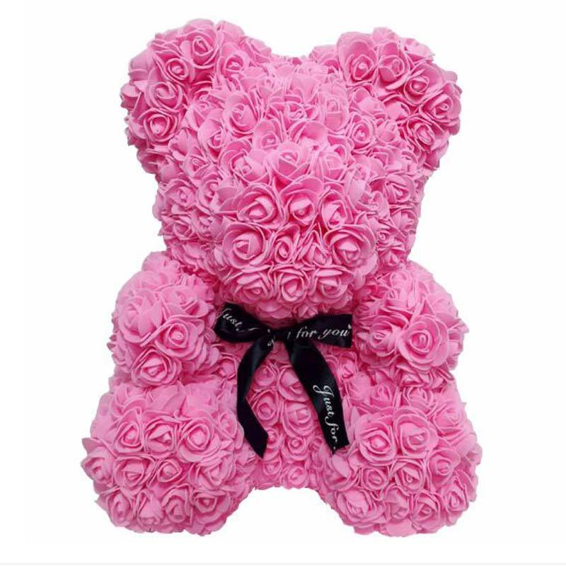 40cm rose bear simulated flower creative eternal box birthday gift rose Halloween Artificial flowers for valentine's days