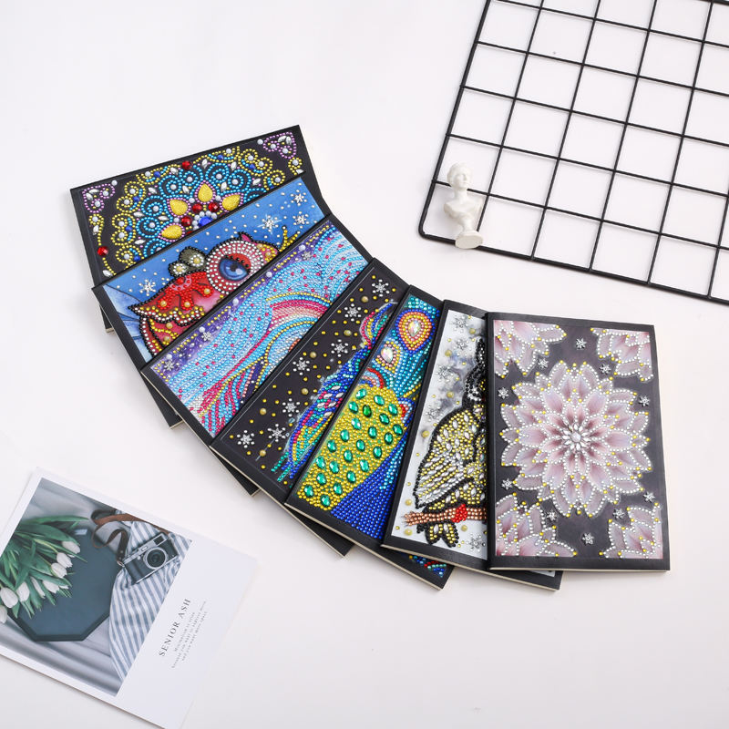 Wholesale 50 Pages Diy Special Shaped Diamond Painting Notebook Flower Diamond Embroidery Owl Animal Diary Book