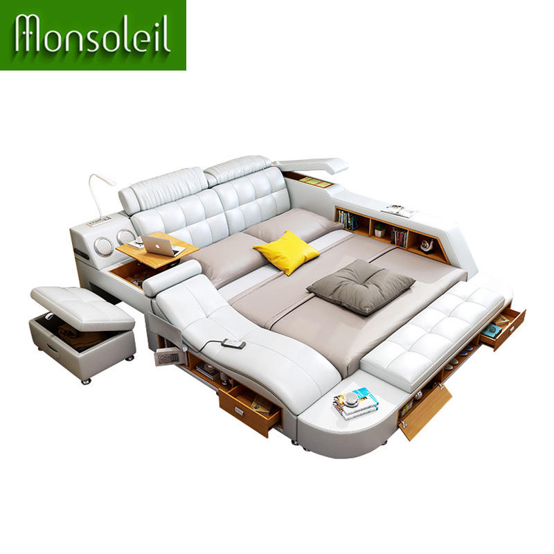 king size bed Fitting Ergonomics Fashion bed furniture modern smart bed