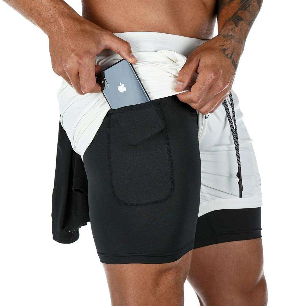Men 2 in 1 Double - Deck custom gym athletic shorts
