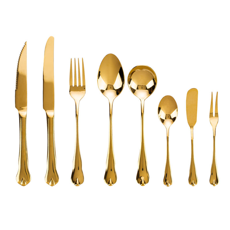 High-end 201 Stainless Steel Portugal Golden Knife Spoon and Forks Flatware Set Event Cutlery Knife And Fork Cutlery With Golden