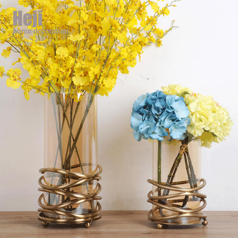Wholesale Indian Glass Gold Wedding Flower Vase For Table Decorations