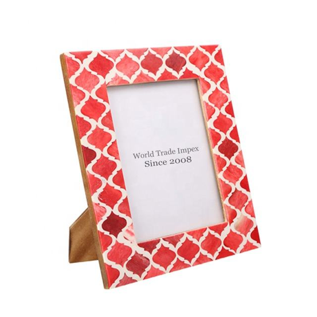 Beautiful red & white natural bone picture frame