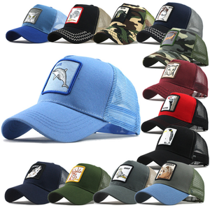 Summer Mesh Animals Embroidery Snapback Sport Hat Trucker Cap for Men
