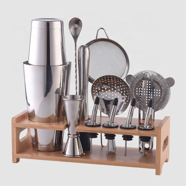 Creation oem strainer bartender metal dining kitchen ss case bacardi travel cocktail shaker tools kit bar set