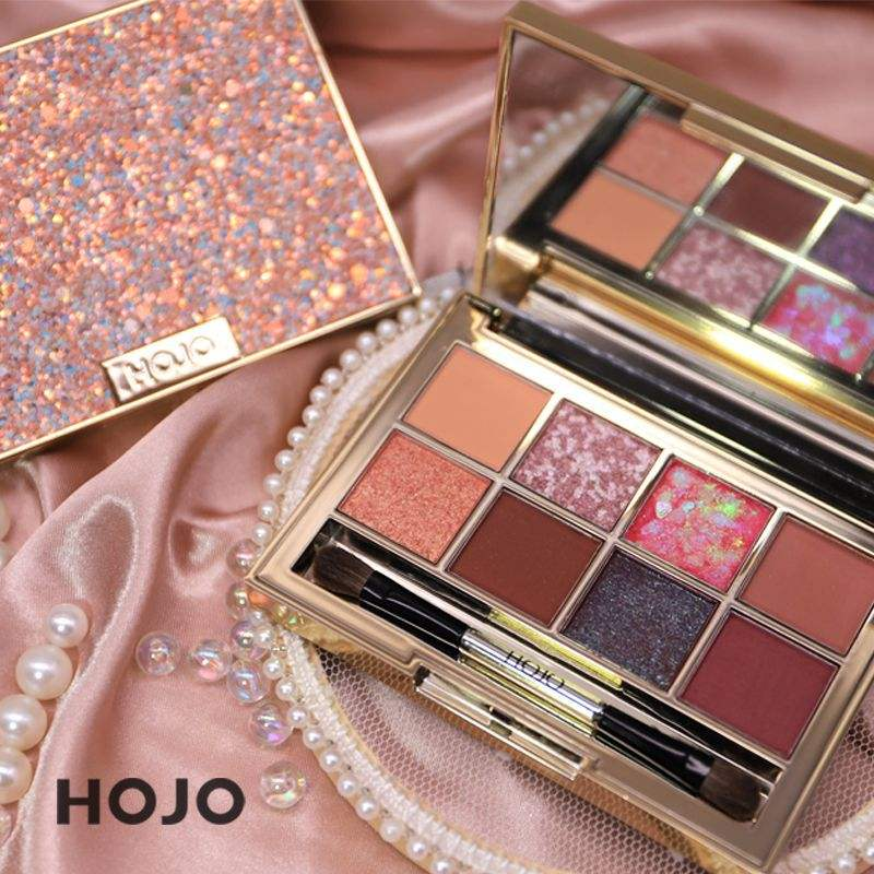 HOJO Dropshipping Glitter Eyeshadow Palet Makeup dengan Sikat 8 Warna Eyeshadow