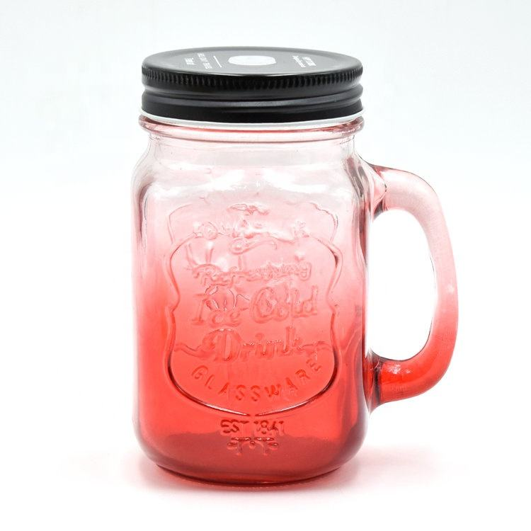 Wholesale 16OZ Logo Printed Color Mason Jars Drinking Glasses Logo with Lid