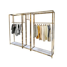 Retail Store Fixture Hanging Clothes Custom Shop Design Metal Gold Clothing Dress Display Rack